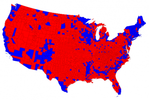 U.S. map of voting by county voting in 2012 election